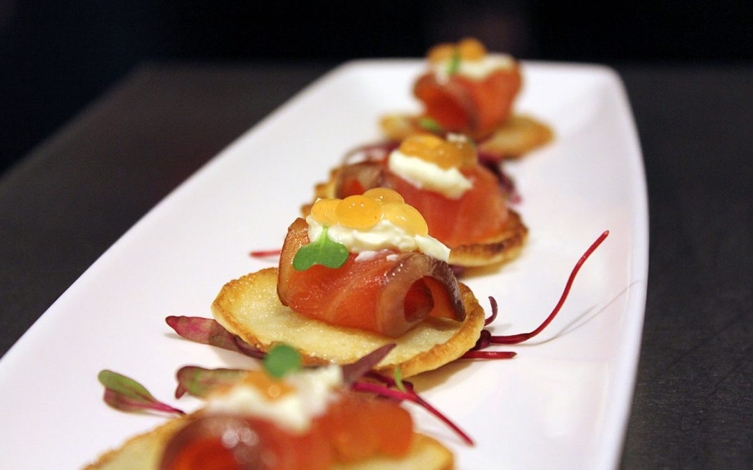 Candied wild coho blini