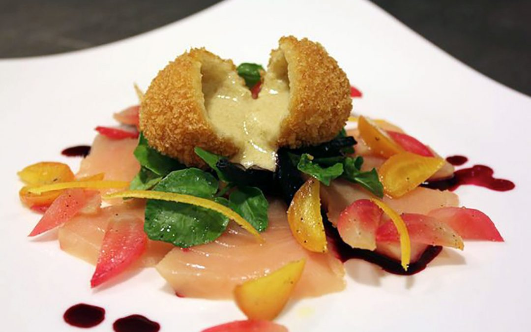 Blood Orange and Foie Gras Cromesqui, Notch Hills Beet Chutney
