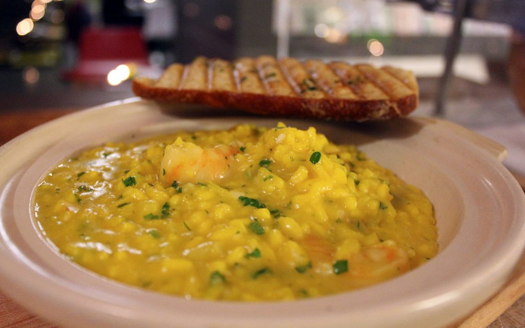Saffron and prawn risotto at giovane wine bar